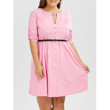 Button Up V Neck Plus Size Dress