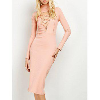 Lace Up Ribbed Knit Bodycon Dress