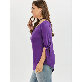 Off The Shoulder Tied Sleeve Plus Size Top - Pourpre 5XL