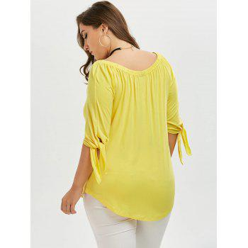 Off The Shoulder Tied Sleeve Plus Size Top - Jaune 5XL