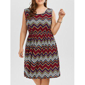 Plus Size Printed Elastic Waist Beach Tank Dress