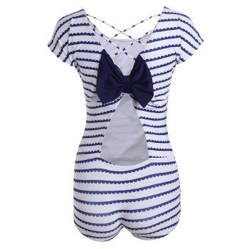 Stripe Criss Cross Swimsuit with Bowknot
