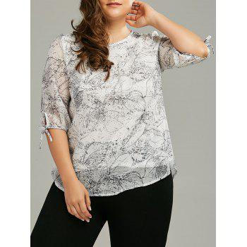 Plus Size Chiffon Printed Self-Tie Flowy Top - GREY WHITE XL