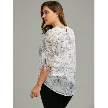 Plus Size Chiffon Printed Self-Tie Flowy Top - XL XL
