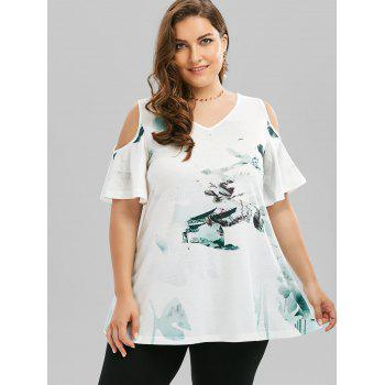 Plus Size Cold Shoulder Chinese Ink T-shirt - WHITE WHITE