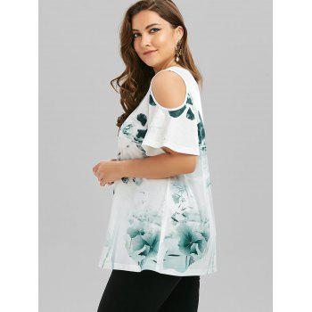 Plus Size Cold Shoulder Chinese Ink T-shirt - 4XL 4XL