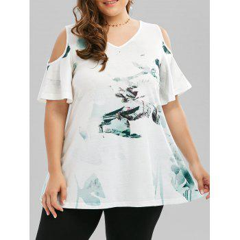 Plus Size Cold Shoulder Chinese Ink T-shirt