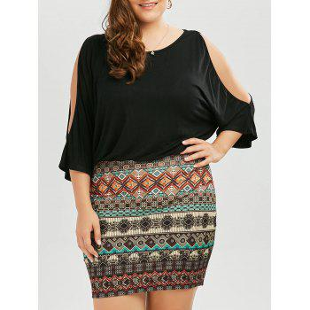 Plus Size Batwing Sleeve Tribe Dress