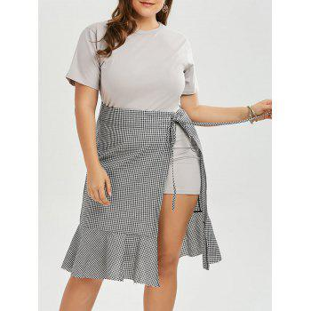 Plus Size T-shirt Dress and Plaid Wrap Mermaid Skirt Set
