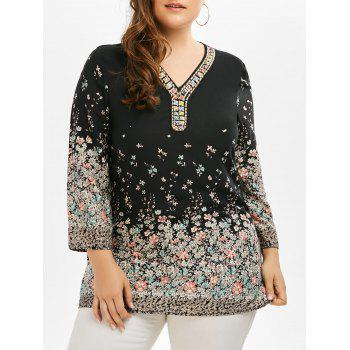 V Neck Beaded Tiny Floral Plus Size Tunic