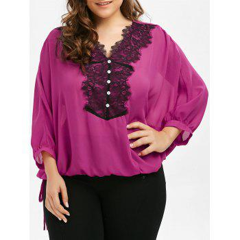 Plus Size Lace Trim Batwing Sleeve Blouse