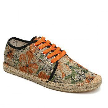 Floral Printed Espadrilles Flat Shoes