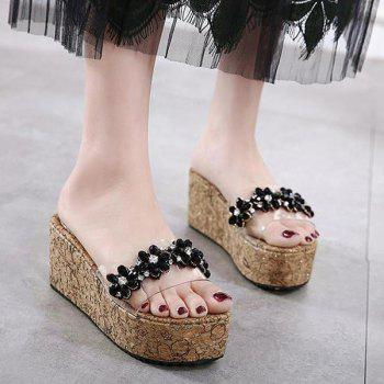 Rhinestones Flowers Transparent Plastic Slippers