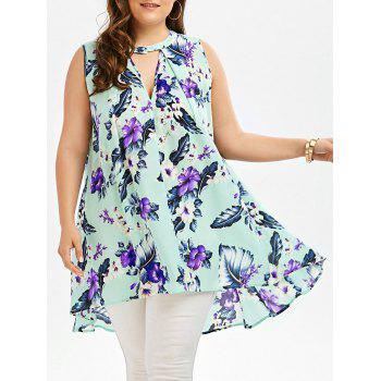 Floral Print Plus Size Sleeveless Tunic
