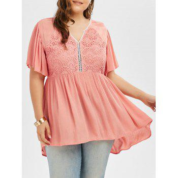 Plus Size Lace Panel High Low Hem Blouse