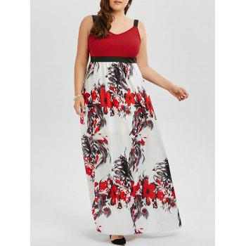 Floral A Line Plus Size Maxi Prom Dress