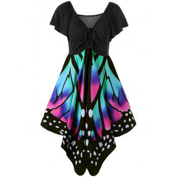 V Neck Butterfly Graphic Dress