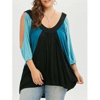 Plus Size Color Block Cold Shoulder Swing T-shirt