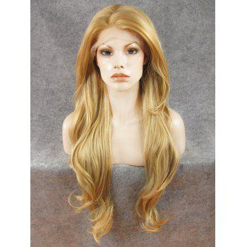 Trendy Fluffy Elegant Bright Honey Blonde Long Wavy Heat Resistant Synthetic Women's Lace Front Wig