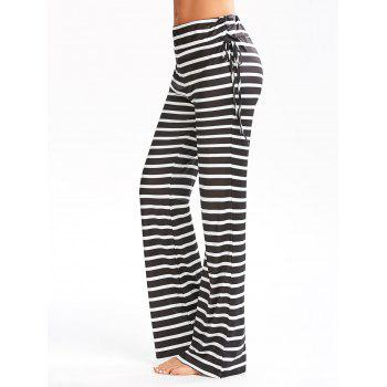 Striped Elastic Waisted Flare Pants