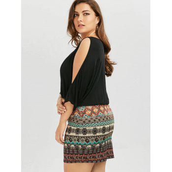 Plus Size Batwing Sleeve Tribe Dress - BLACK XL