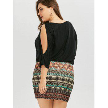 Plus Size Batwing Sleeve Tribe Dress - BLACK 3XL