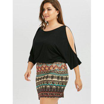 Plus Size Batwing Sleeve Tribe Dress - BLACK 5XL