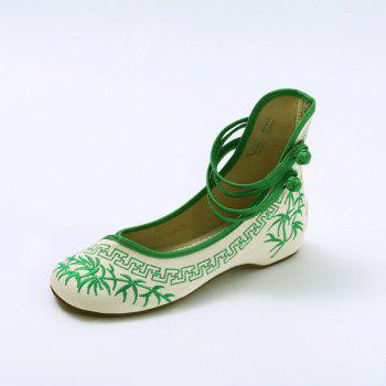 Double Knot Button Embroidery Wedge Shoes - GREEN 39