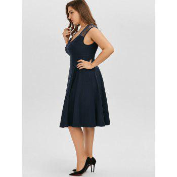 Vintage Mesh Trim A Line Plus Size Dress - PURPLISH BLUE 4XL
