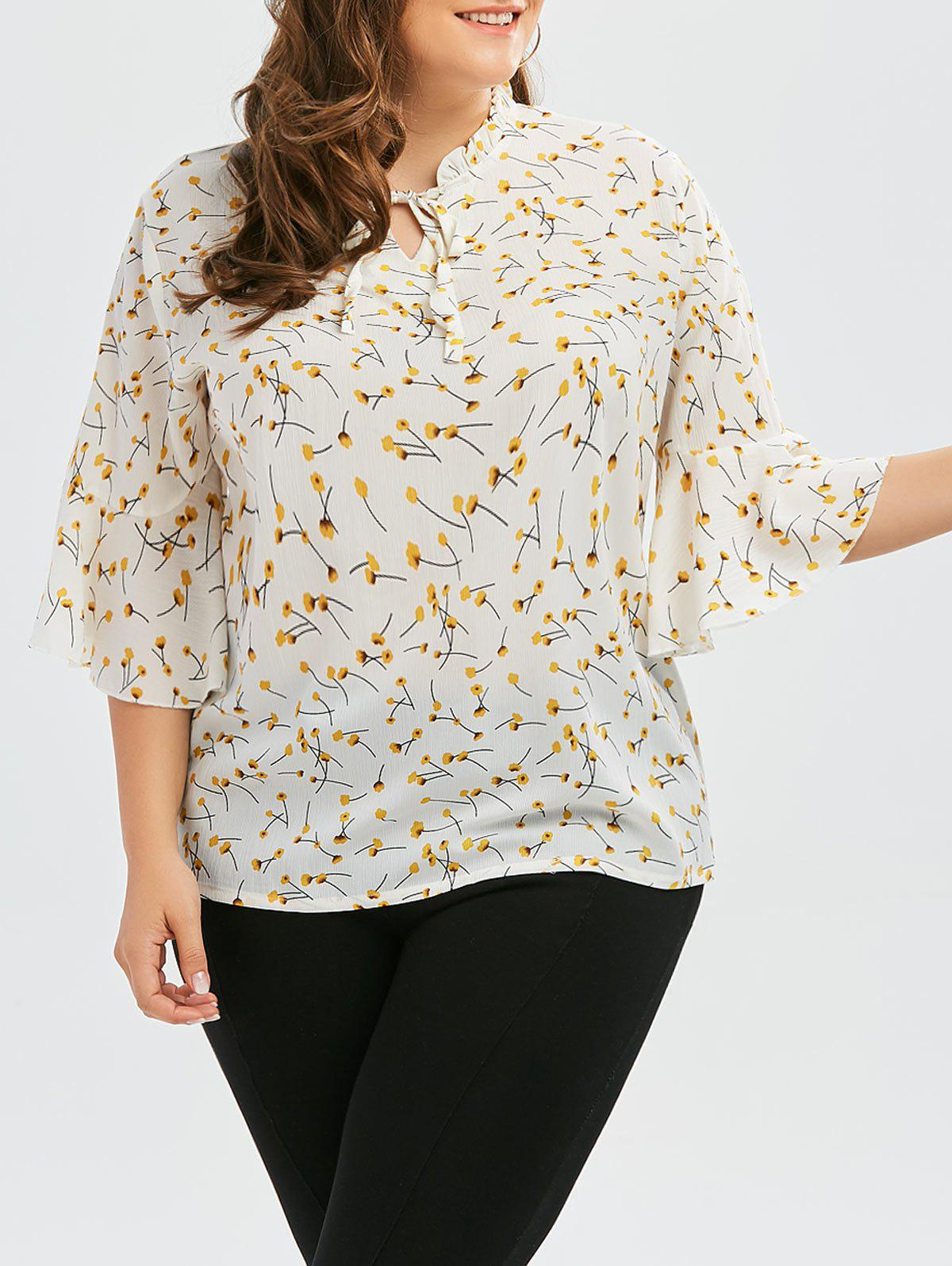 Plus Size Ruffle Neck Floral Blouse with Bell Sleeve 1 8 3 17mm 2mm 400m pu transparent tube pu clear tube pneumatic hoses air hoses