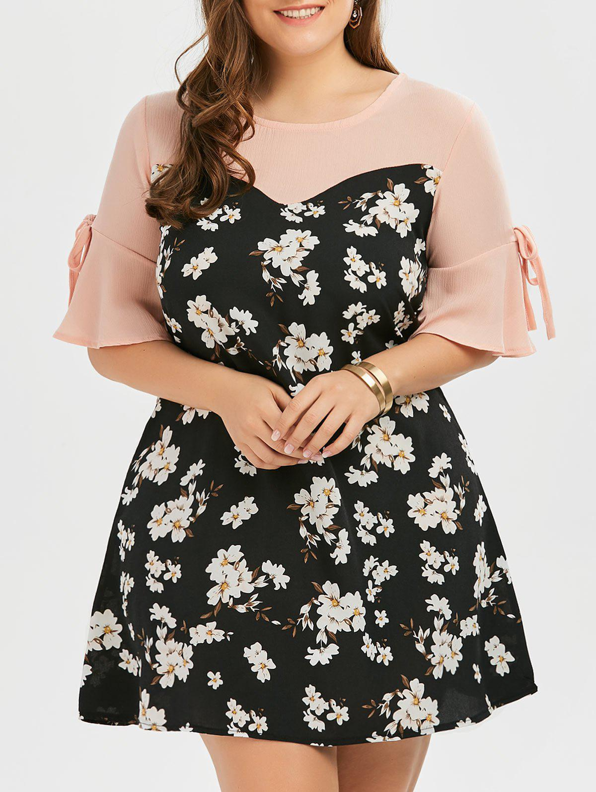 Plus Size Bow Tie Floral Chiffon Dress with Flare Sleeve stretchy ruffled garter 2pcs with bow tie