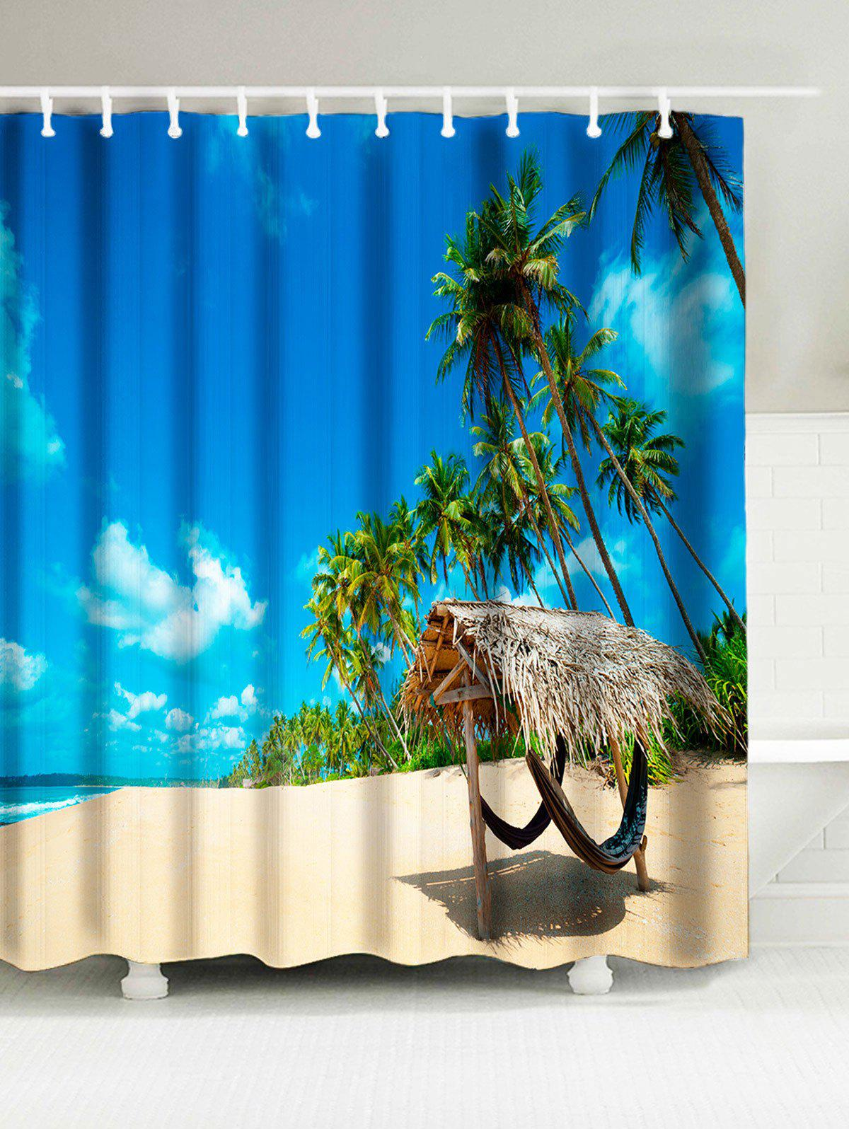 Water Resistant Shower Curtain with Tropical Beach Print flower butterfly mantis water resistant shower curtain