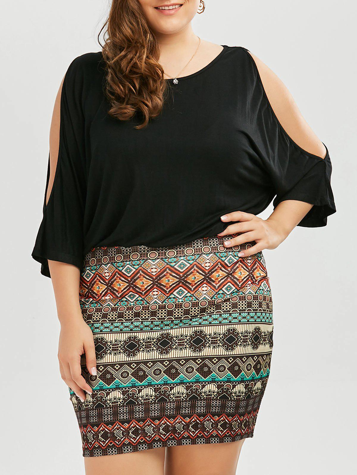 Plus Size Batwing Sleeve Tribe Dress - BLACK 2XL