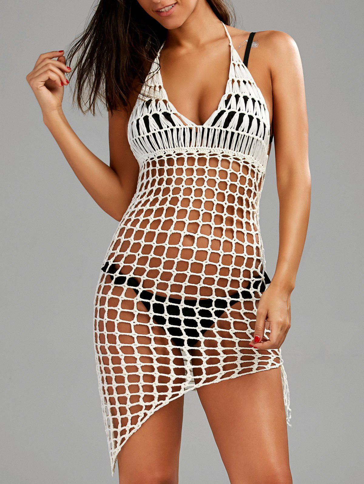 Halter Fishnet Crochet Cover-Up Swim Dress strappy cross back crochet cover up swim dress