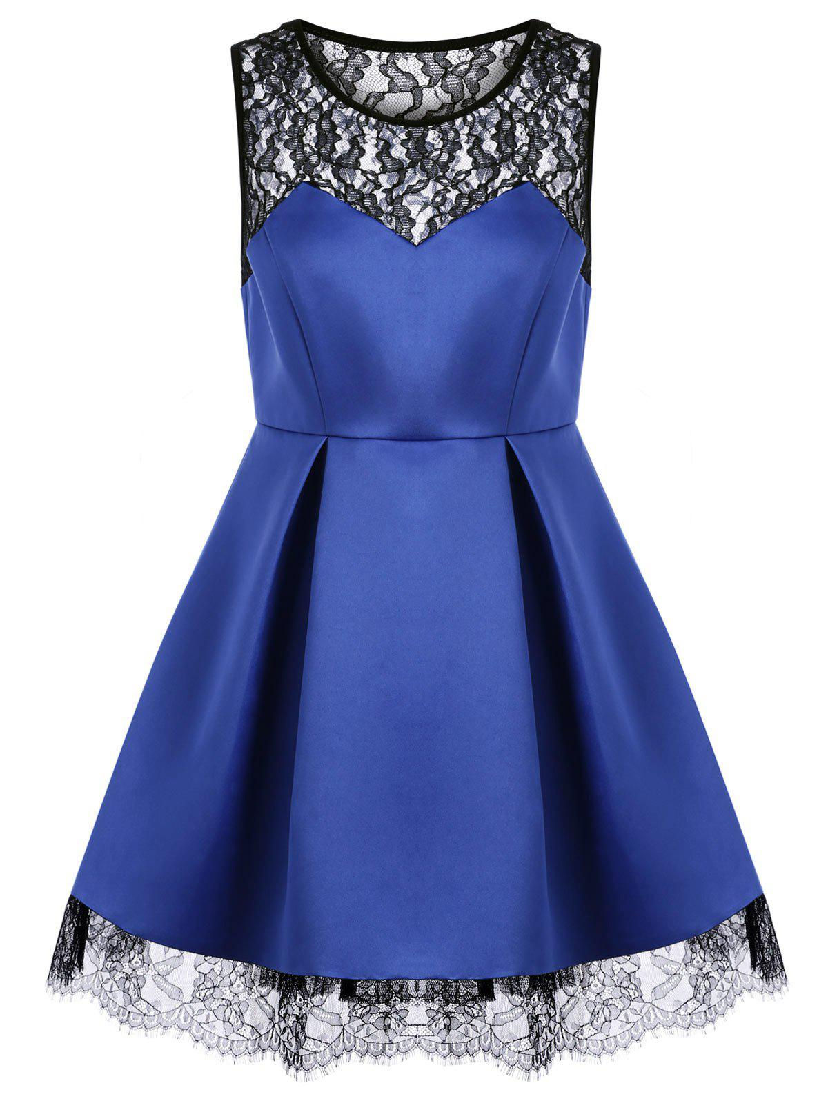 2018 lace panel mini sleeveless dress blue xl in casual