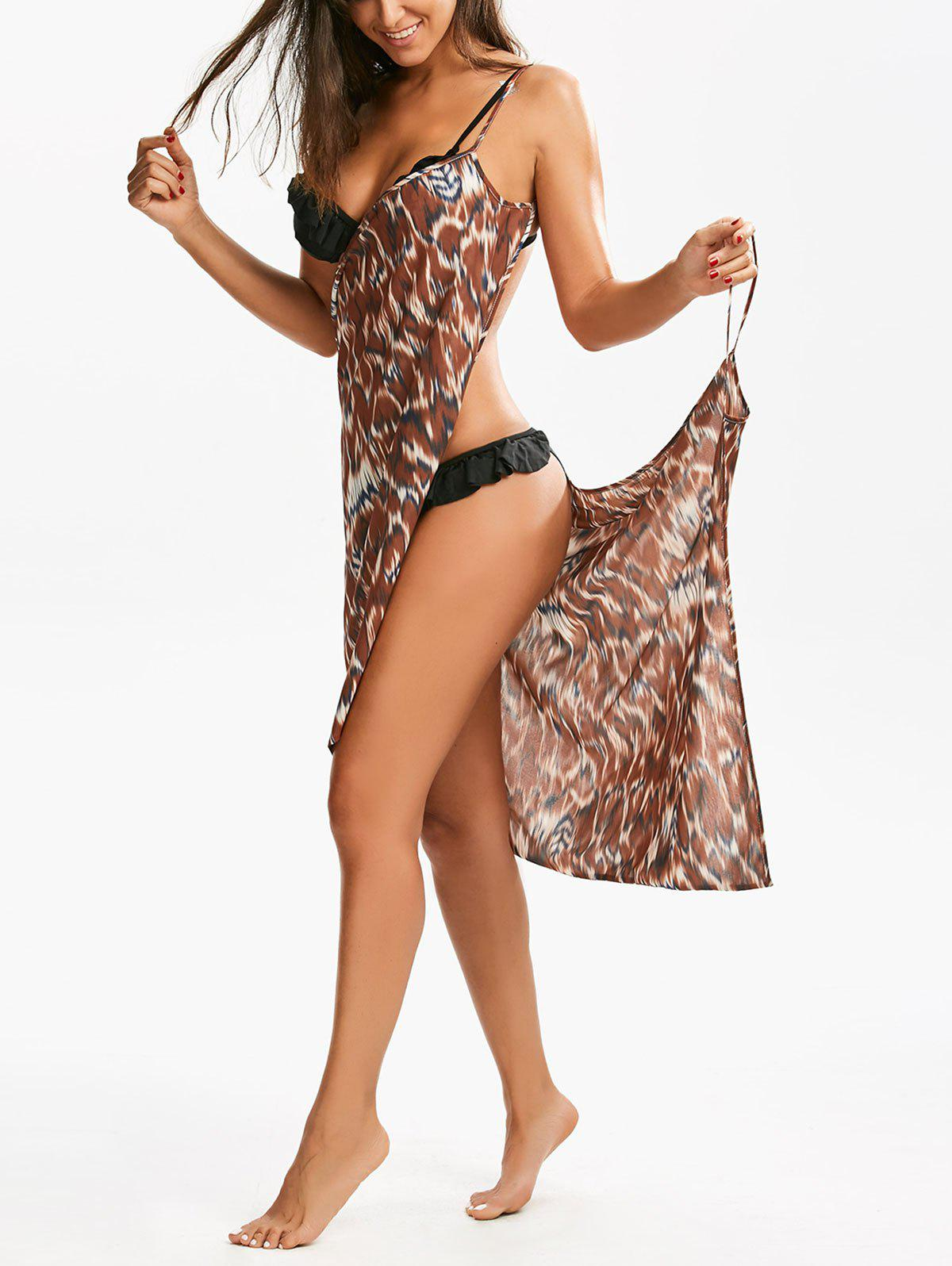 Double-Deck Cheetah Print Beach Cover Up - multicolorcolore 2XL