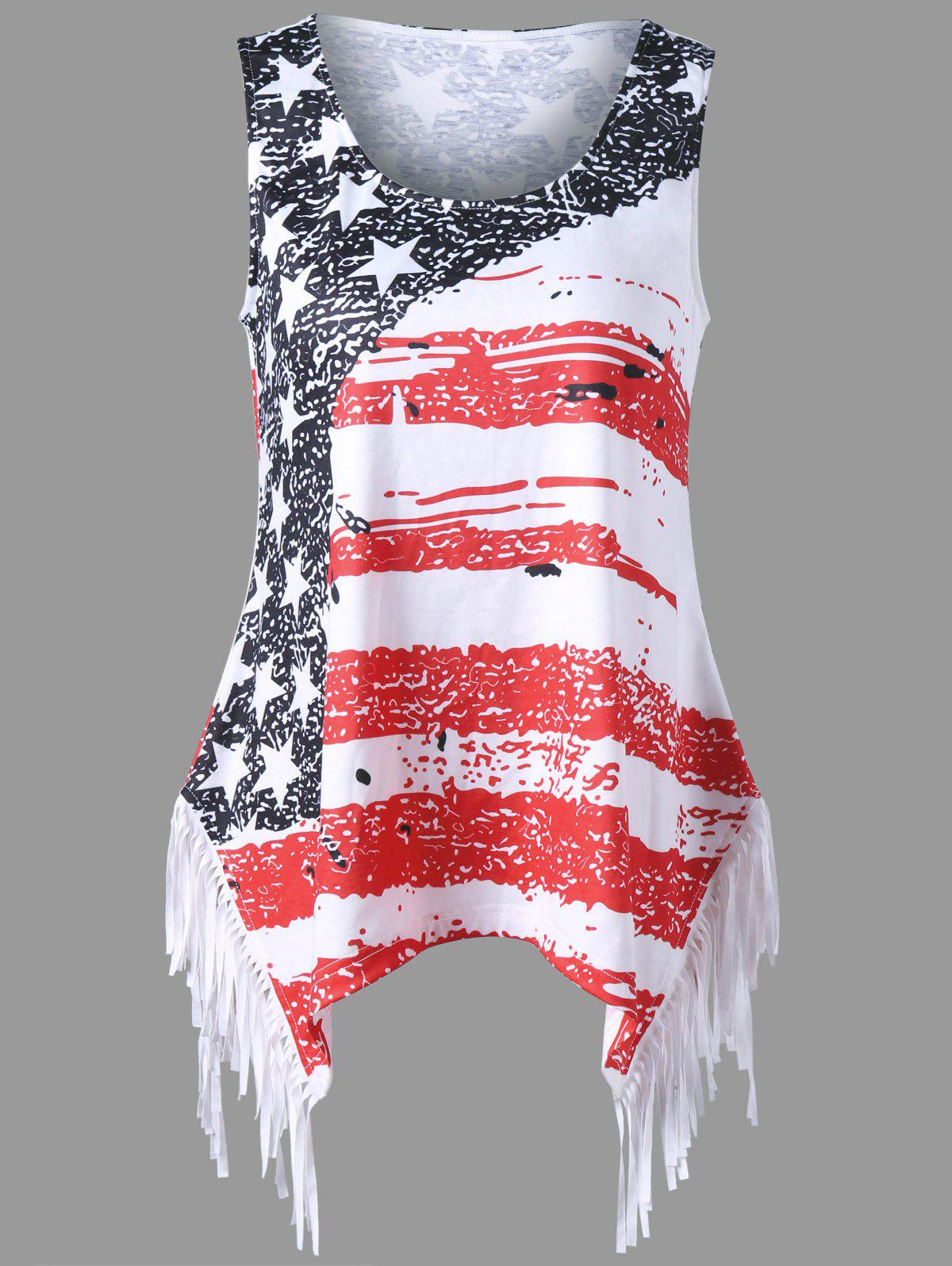Fringe American Flag Print Tank Top - COLORMIX XL