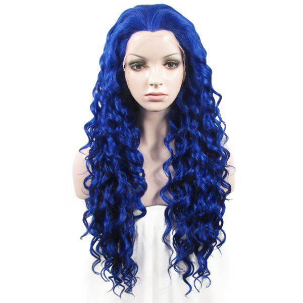 Long Lace Front Towheaded Curly Heat Resistant Fiber Vogue Blue Wig For Women lace front synthetic wigs hair wig black curly cheap heat resistant fiber african american lace wig for black women high quality