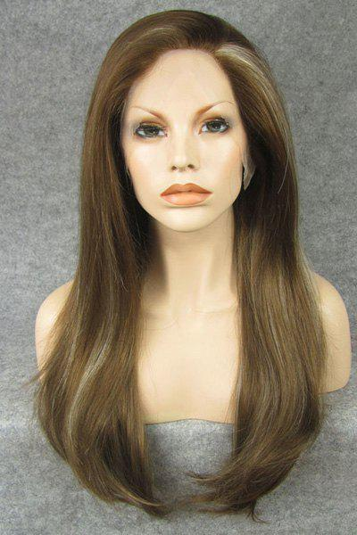 Trendy Greenish Brown Highlight Stunning Long Silky Straight Heat Resistant Synthetic Women's Wig - FLAX