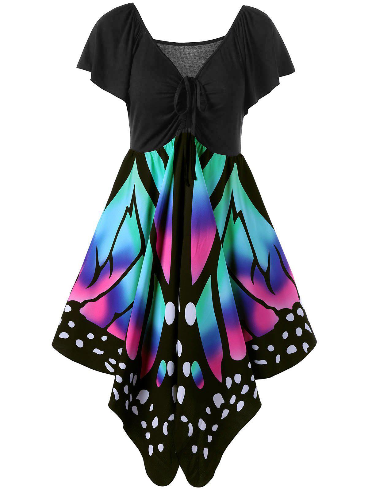 V Neck Butterfly Graphic Dress - BLACK/PINK L