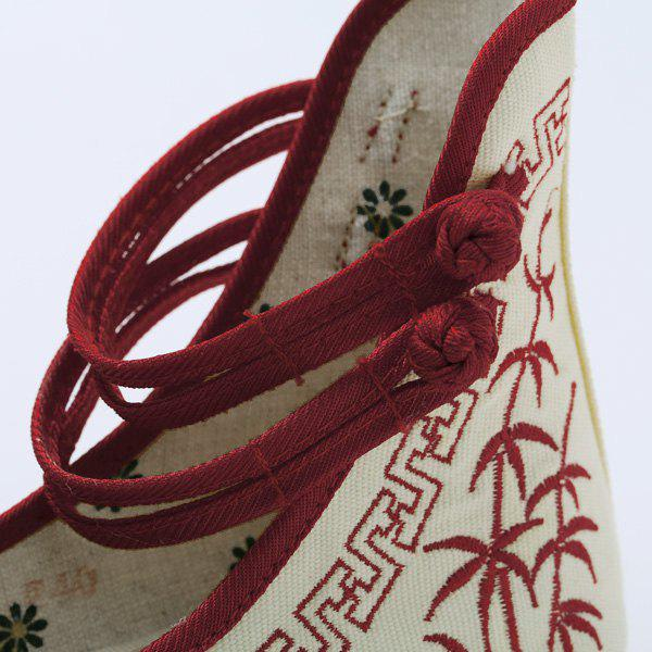 Double Knot Button Embroidery Wedge Shoes - RED 38