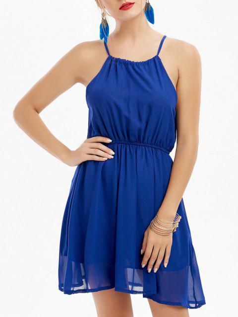 Sleeveless High Waisted Chiffon Dress - BLUE XL