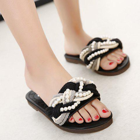 Flat Heel Color Block Faux Pearls Slippers - BLACK 39