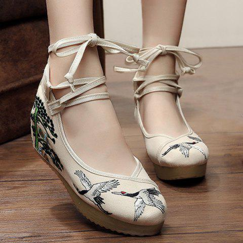 Embroidered Tie Up Wedge Shoes - CANDY BEIGE 39