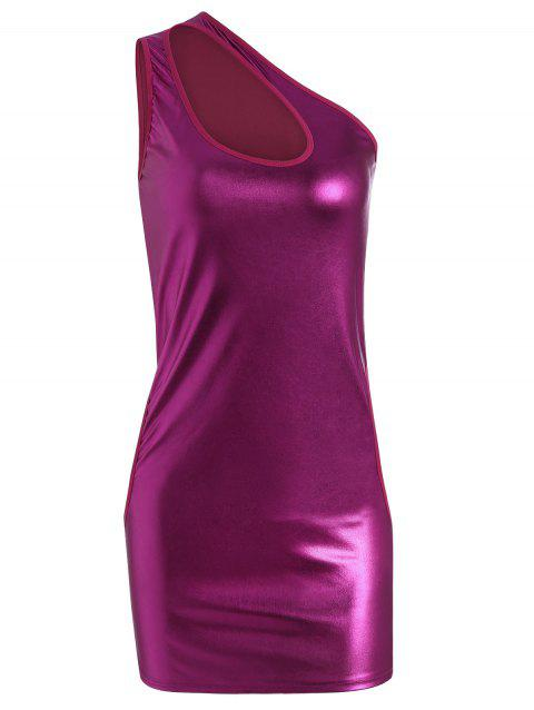 One Shoulder Cut Out Faux Leather Dress - ROSE MADDER ONE SIZE