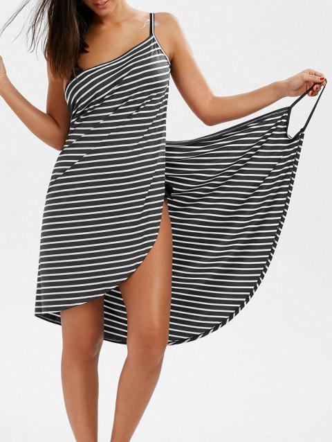 Striped Open Back Multiway Wrap Cover-ups Dress - GRAY XL
