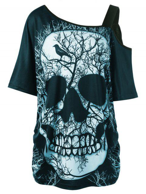 Plus Size Skew Collar Skull T-shirt - CYAN 4XL