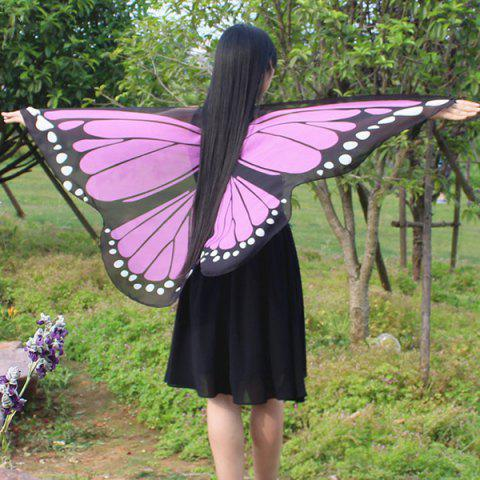 Butterfly Wing Print Chiffon Strap Cape Scarf - PINK