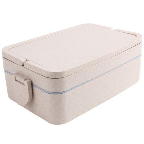Double Layers Large Capacity Portable Square Wheat Straw Lunch Box - BLUE