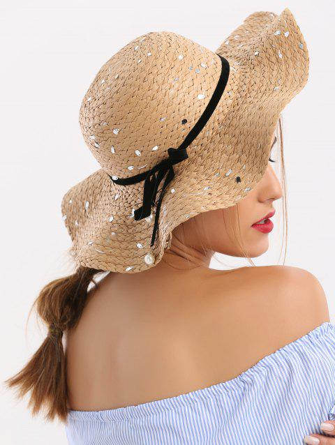 04e093c8c168d 17% OFF  2019 Sequin Straw Hat With Detachable Ribbon Bowknot In ...
